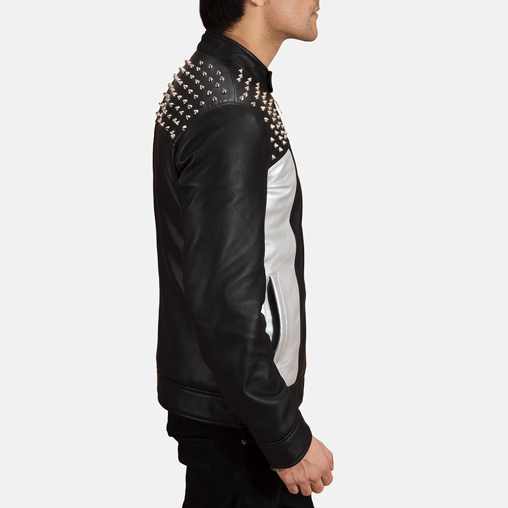 Mens Shapron Studded Leather Biker Jacket 5