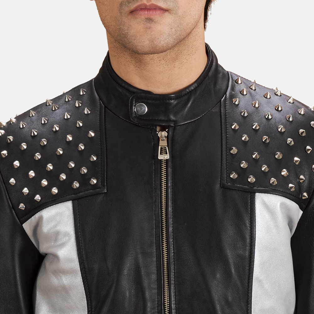 Mens Shapron Studded Leather Biker Jacket 4