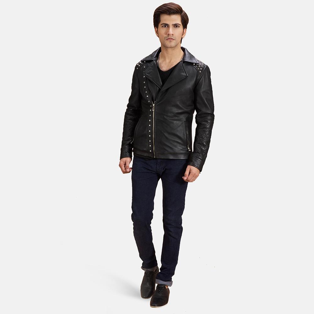 Mens Black Studded Leather Biker Jacket 1