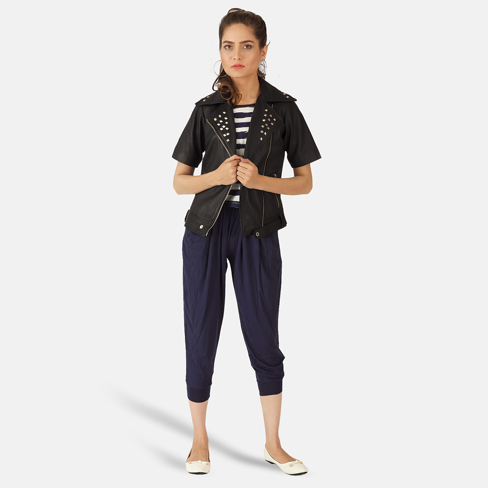 Womens Starlet Black Leather Biker Jacket 1
