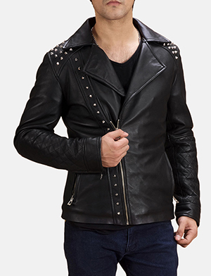 Mens Black Studded Leather Biker Jacket