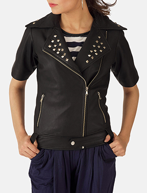 Black studded double rider jacket zoom 2 a 1491411403075