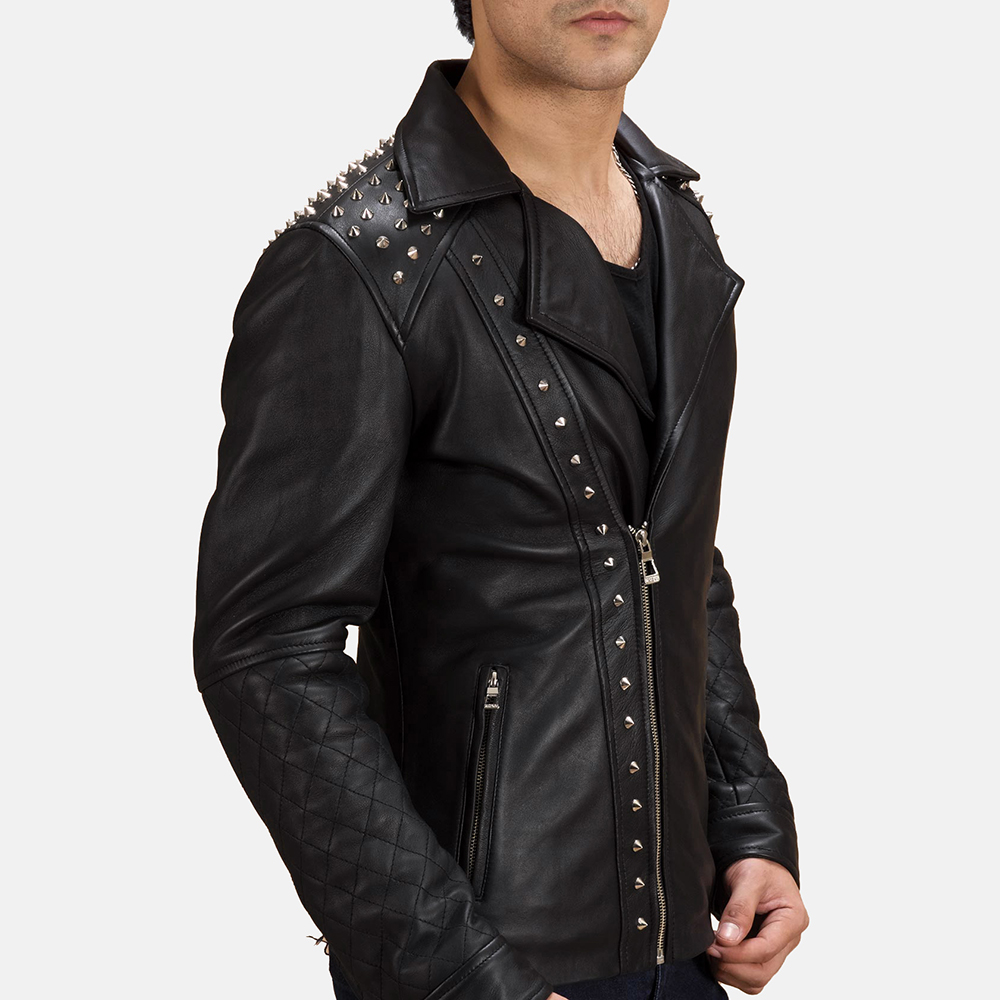 Mens spiked leather jacket