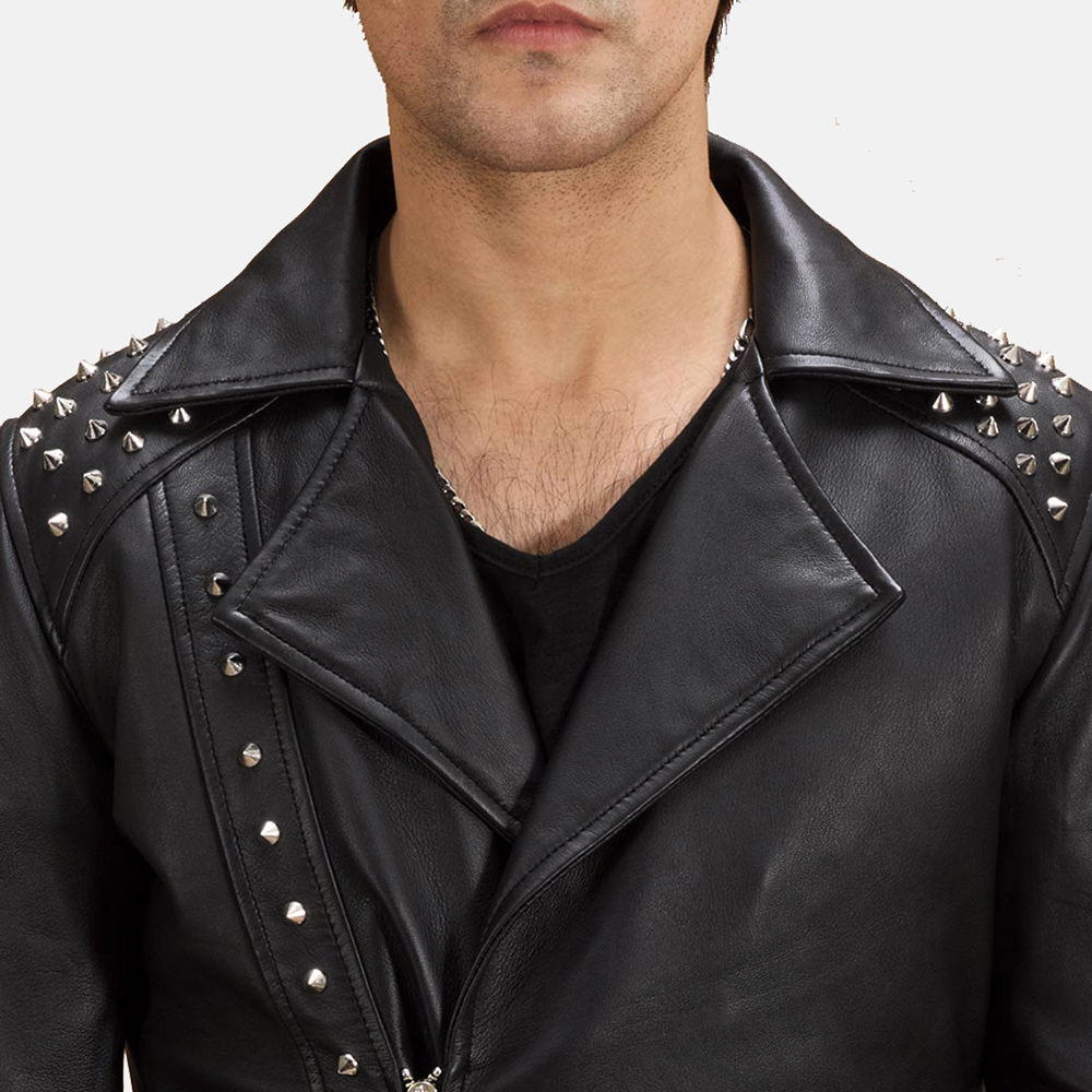 Mens Black Studded Leather Biker Jacket 5