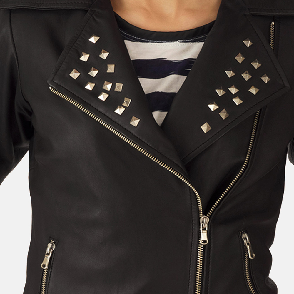 Womens Starlet Black Leather Biker Jacket 4