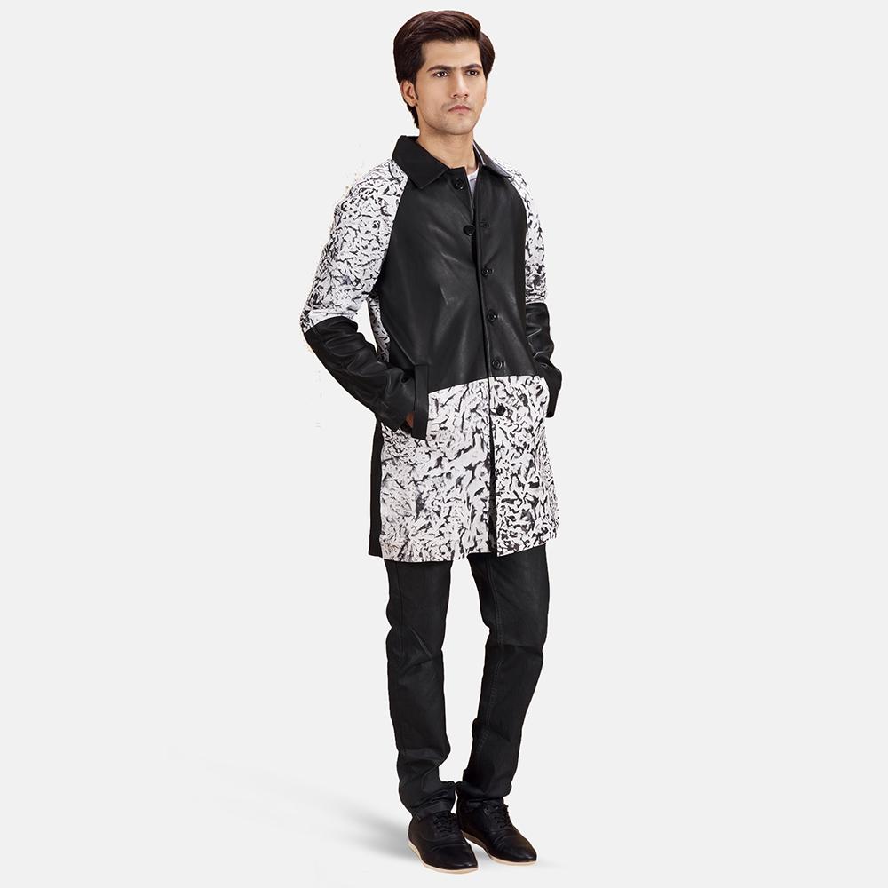 Mens Artistry Black Dye Leather Coat 1