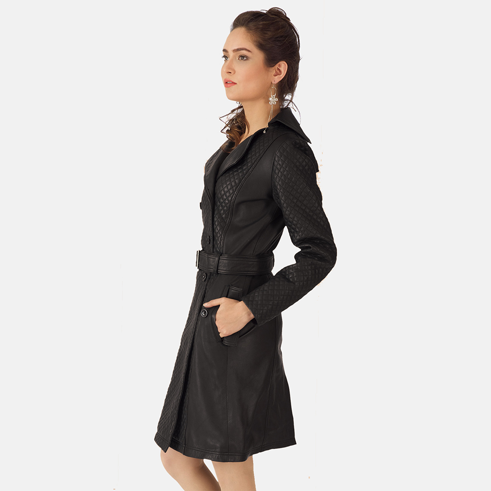 Womens Sweet Susan Black Leather Trench Coat 4