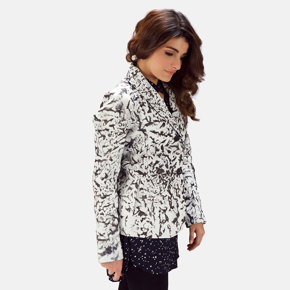 Womens Donna Blake White Leather Blazer 5