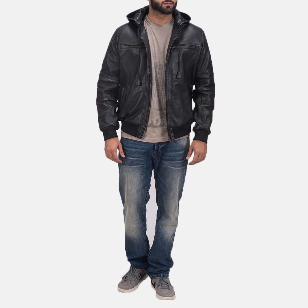 Mens Bouncer Biz Black Leather Bomber Jacket 6