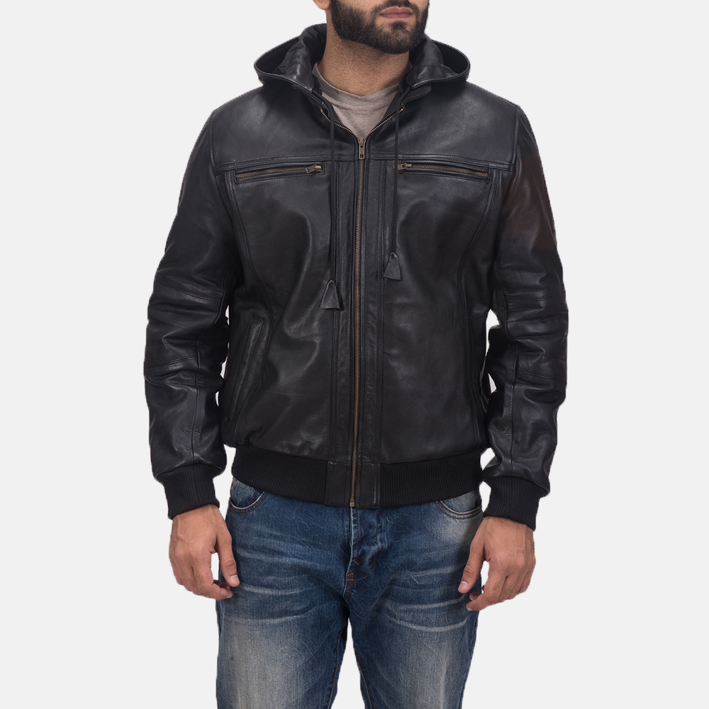 Mens Bouncer Biz Black Leather Bomber Jacket 2