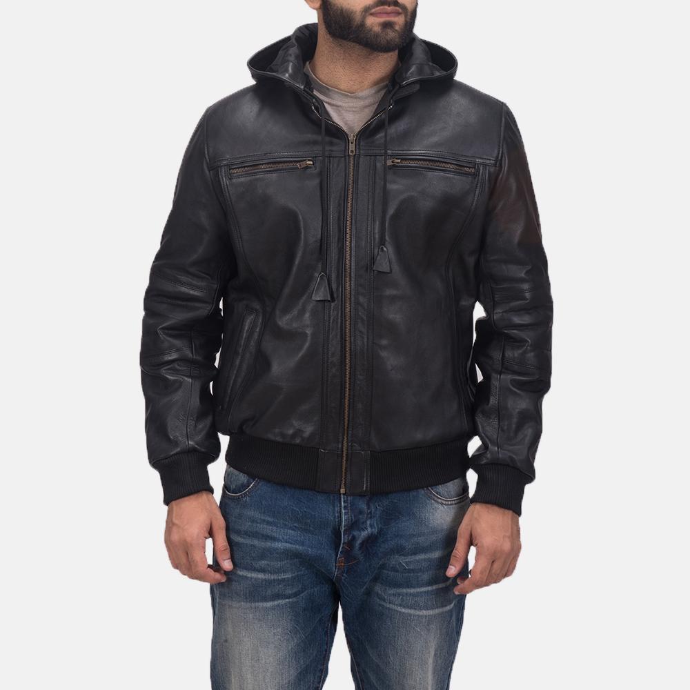 Mens Bouncer Biz Black Leather Bomber Jacket 2
