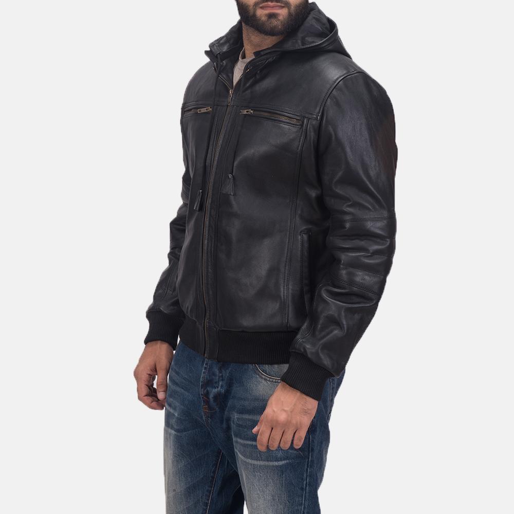 Mens Bouncer Biz Black Leather Bomber Jacket 4