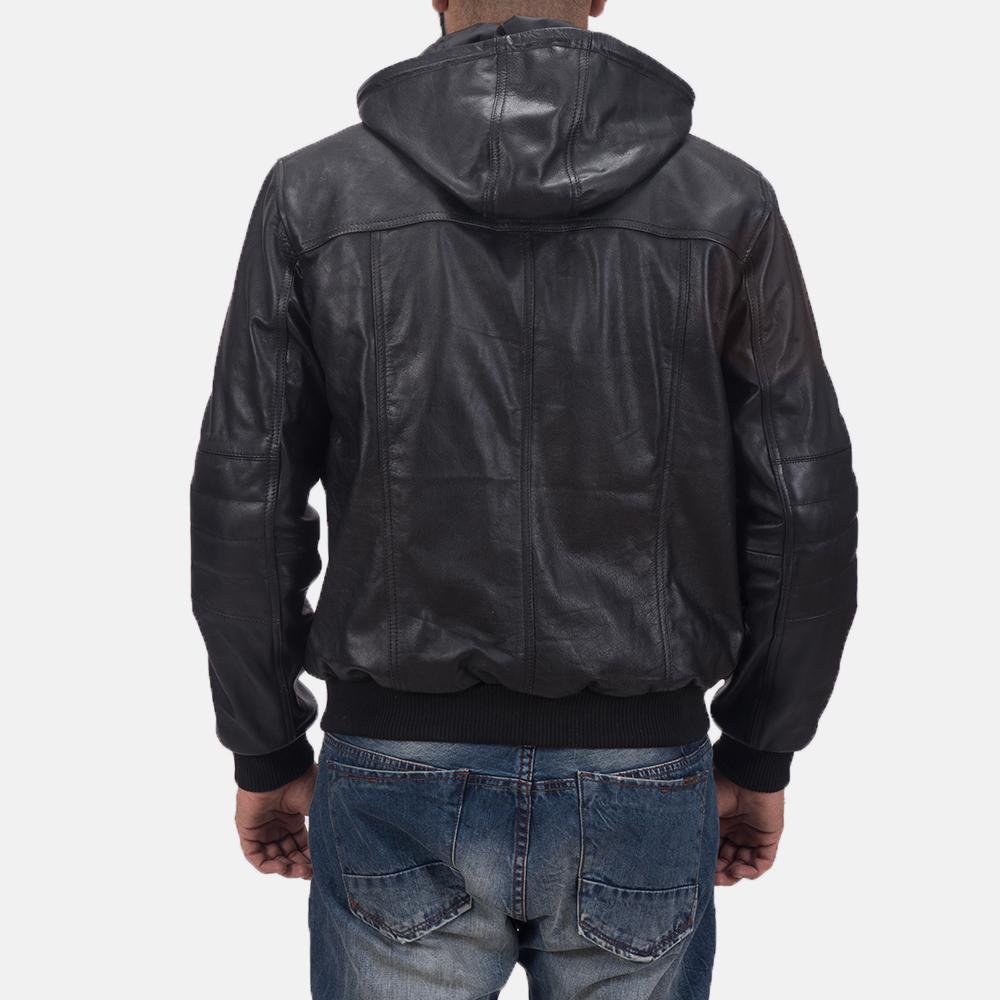 Mens Bouncer Biz Black Leather Bomber Jacket 7