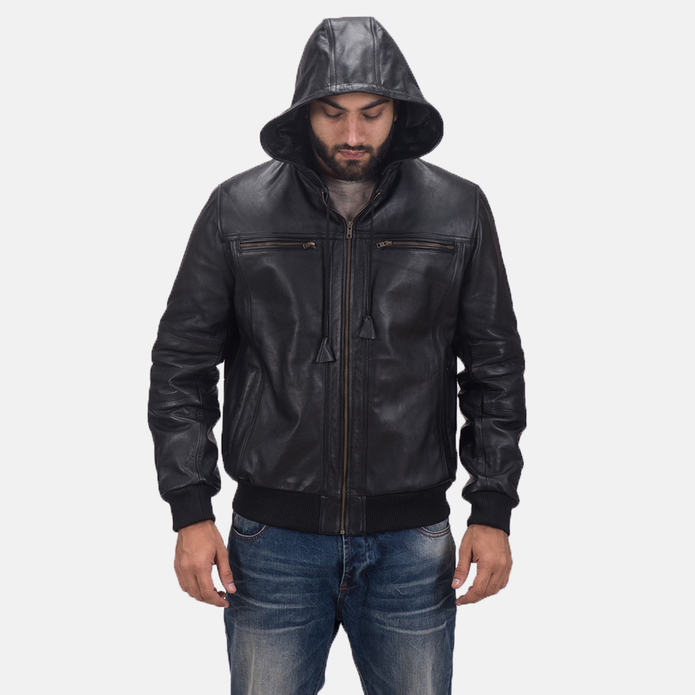 Mens Bouncer Biz Black Leather Bomber Jacket