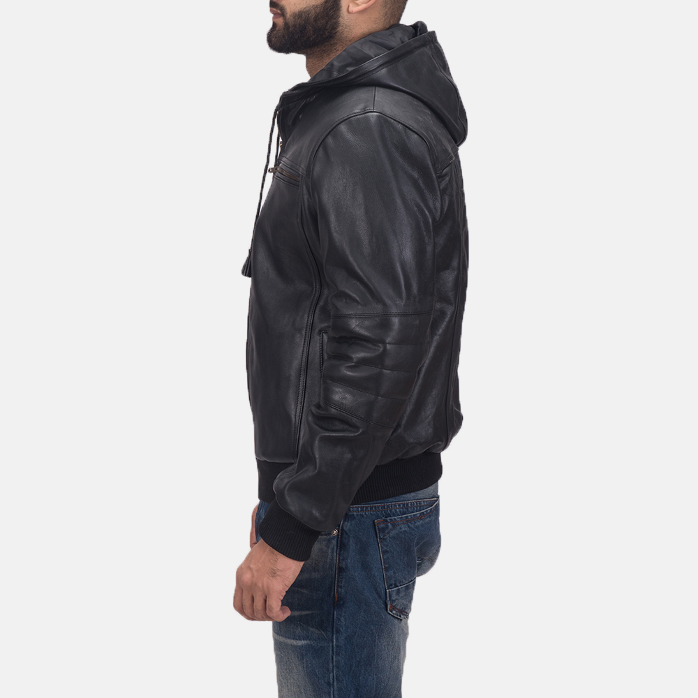 Mens Bouncer Biz Black Leather Bomber Jacket 5