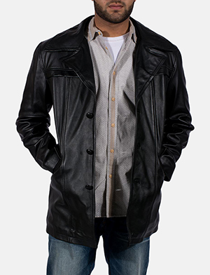 Mens Brawnton Black Leather Coat