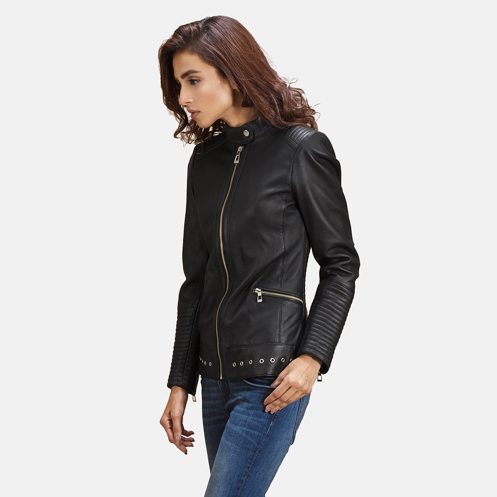 Womens Haley Ray Black Leather Biker Jacket 2