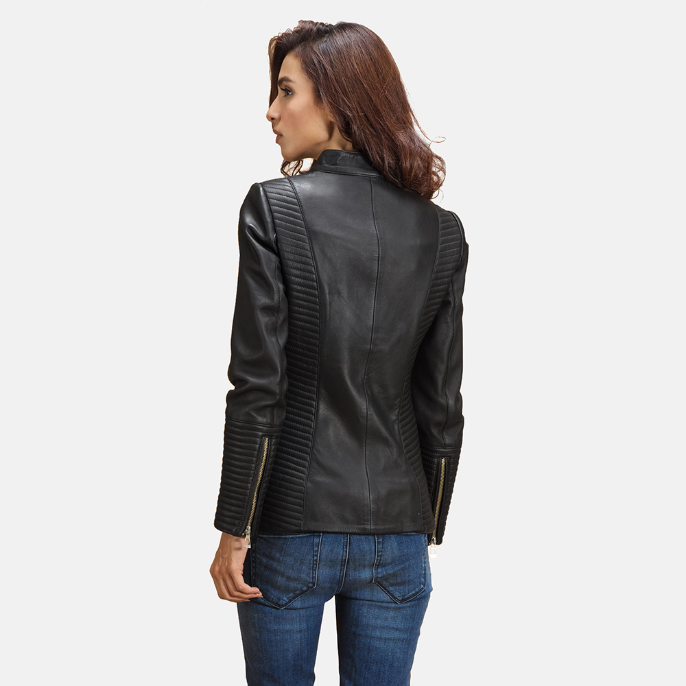 Womens Haley Ray Black Leather Biker Jacket 3
