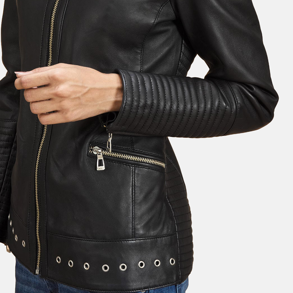 Womens Haley Ray Black Leather Biker Jacket 5