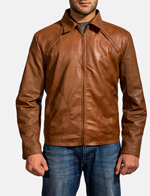 Mens Lenny Tan Brown Leather Jacket
