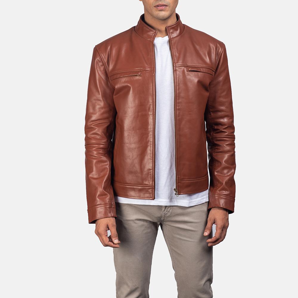 Mens Chang Tan Leather Biker Jacket 1