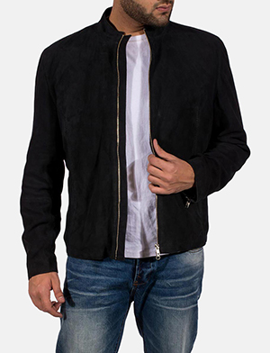 Mens Charcoal Black Suede Jacket