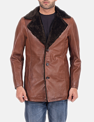 Mens Cinnamon Brown Leather Fur Coat