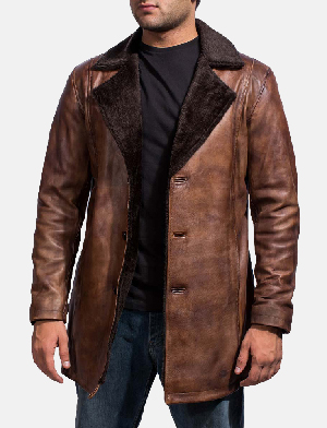 Mens Cinnamon Distressed Leather Fur Coat