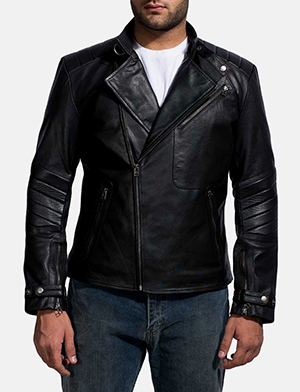 Mens Cirsova Black Leather Biker Jacket