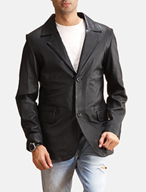 Alyson Black Leather Blazer