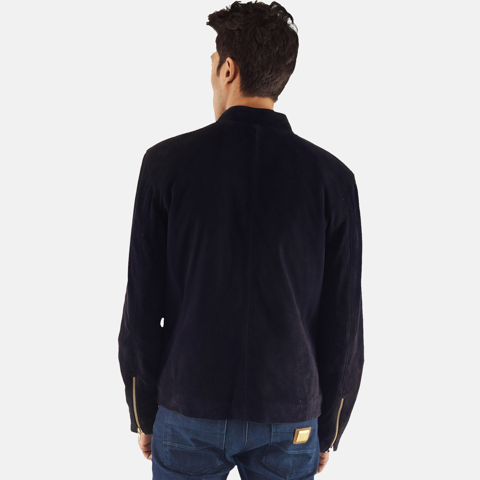 Men's Charcoal Navy Blue Suede Biker Jacket 4