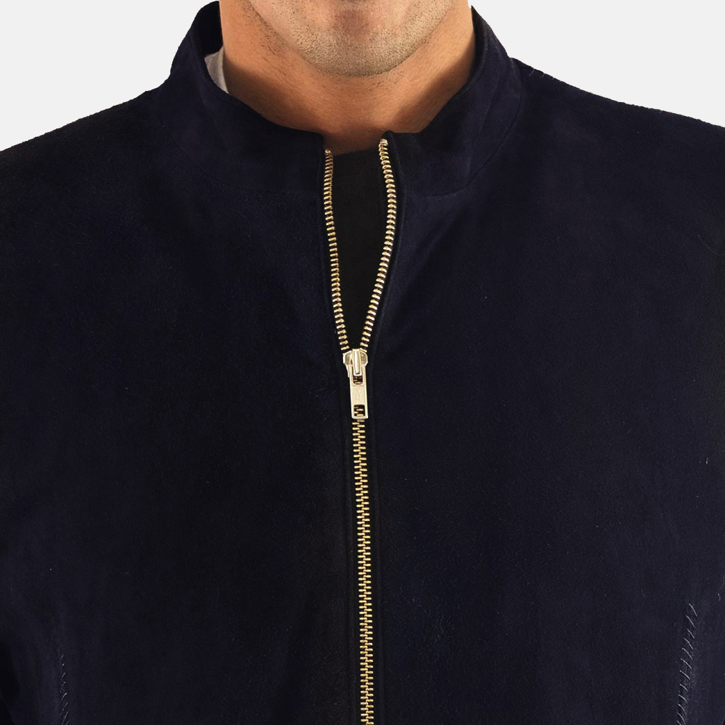 Men's Charcoal Navy Blue Suede Biker Jacket 6