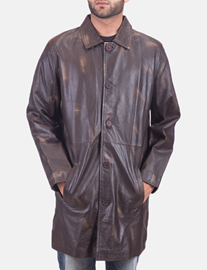 Mens Classmith Brown Leather Coat