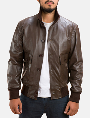 Mens Columbus Brown Leather Bomber Jacket