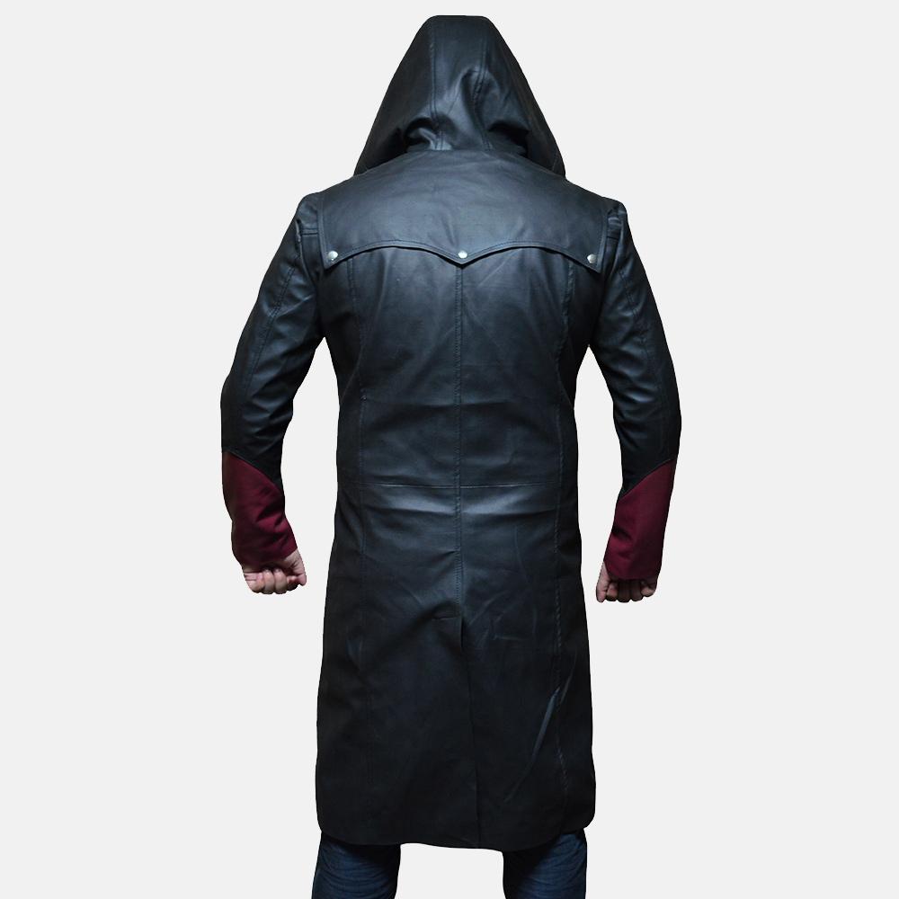 Mens Devil Black Leather Coat 2