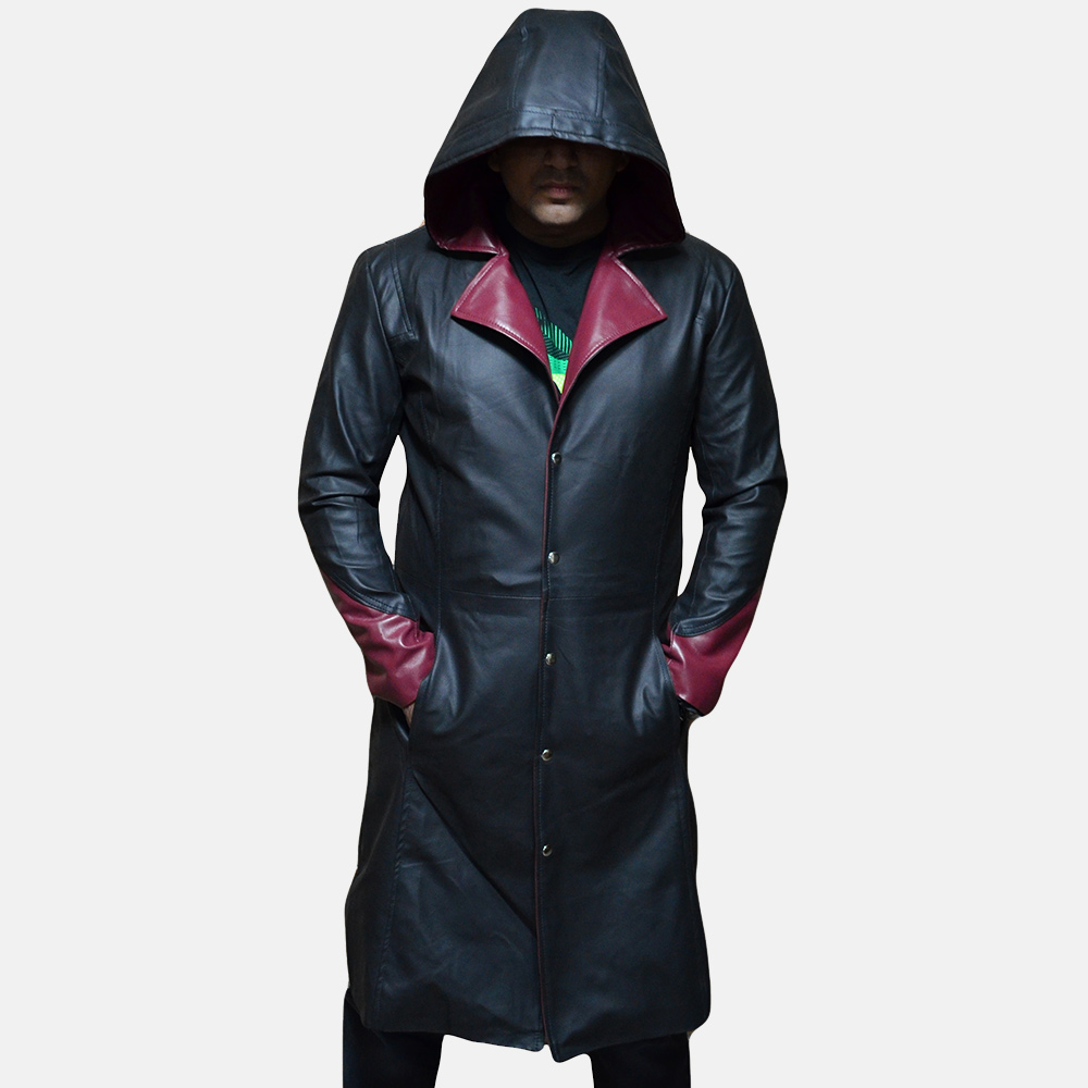 Mens Devil Black Leather Coat 1