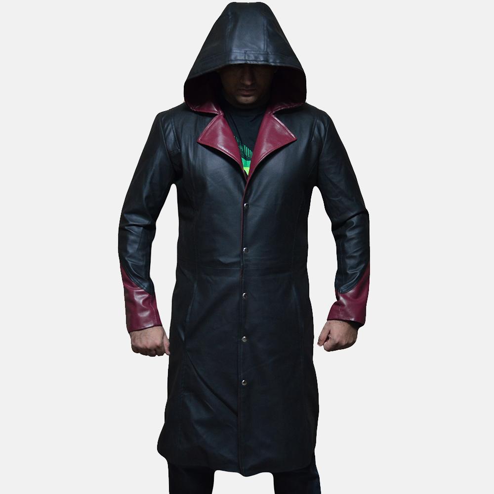 Mens Devil Black Leather Coat 3