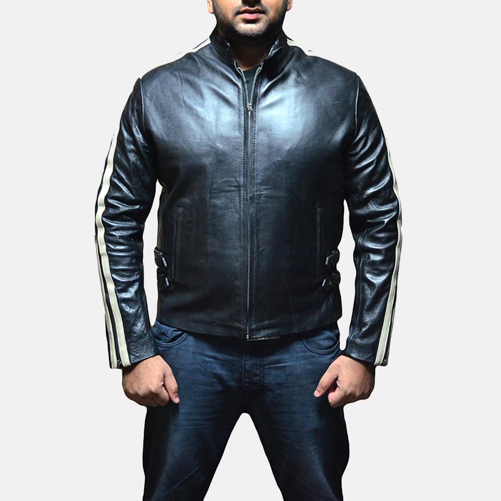 Mens Hank Black Leather Biker Jacket 1