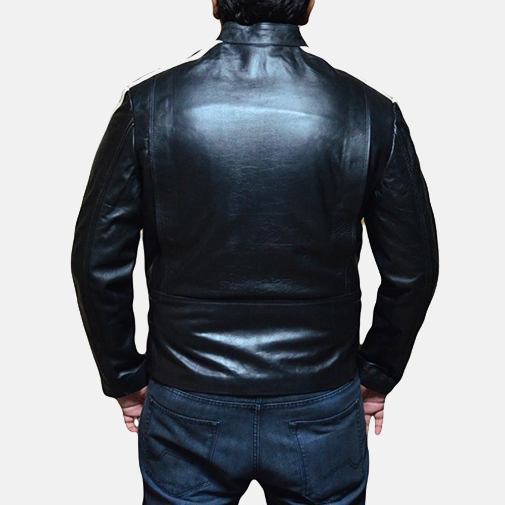 Mens Hank Black Leather Biker Jacket 3