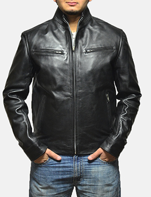 Mens Austere Black Leather Biker Jacket