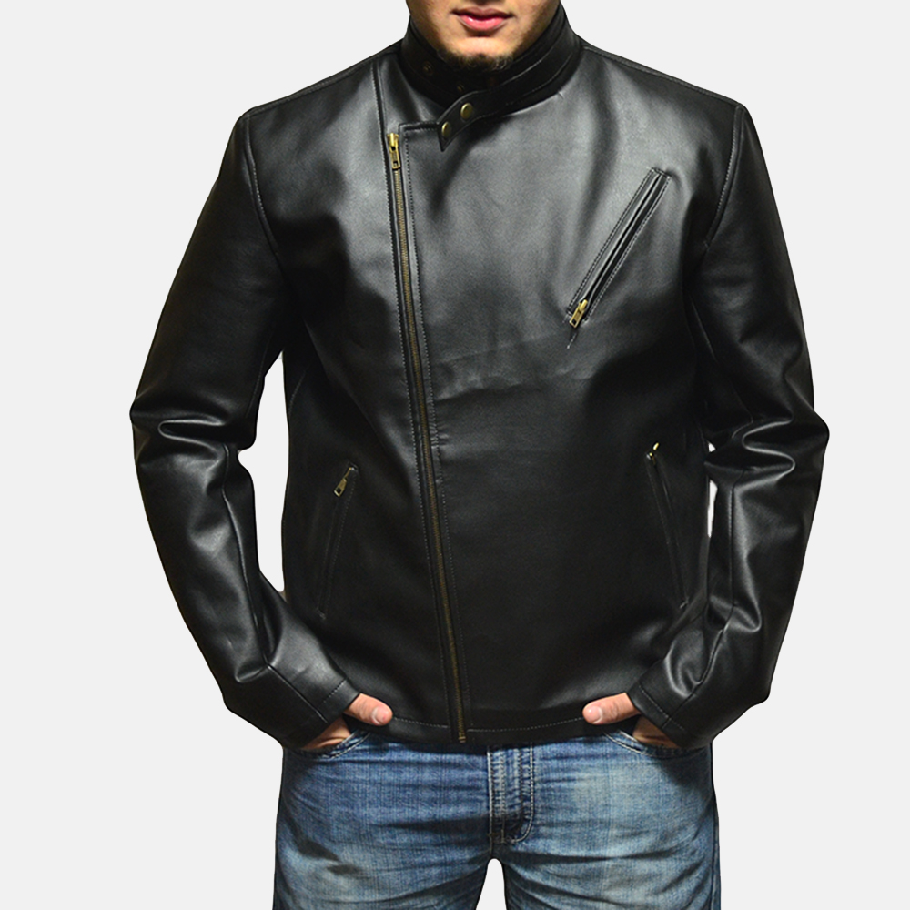 Mens Vivid Black Leather Biker Jacket 1