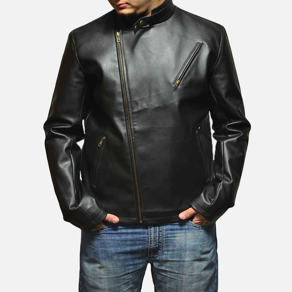 Mens Vivid Black Leather Biker Jacket 2
