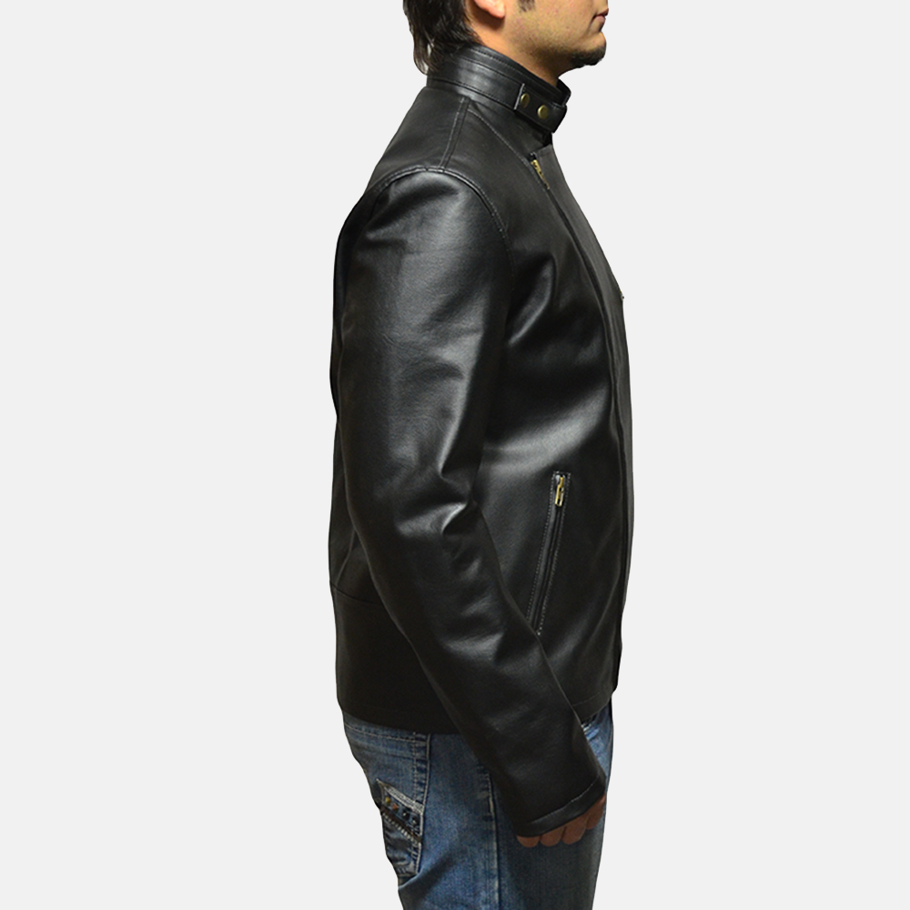 Mens Vivid Black Leather Biker Jacket 3