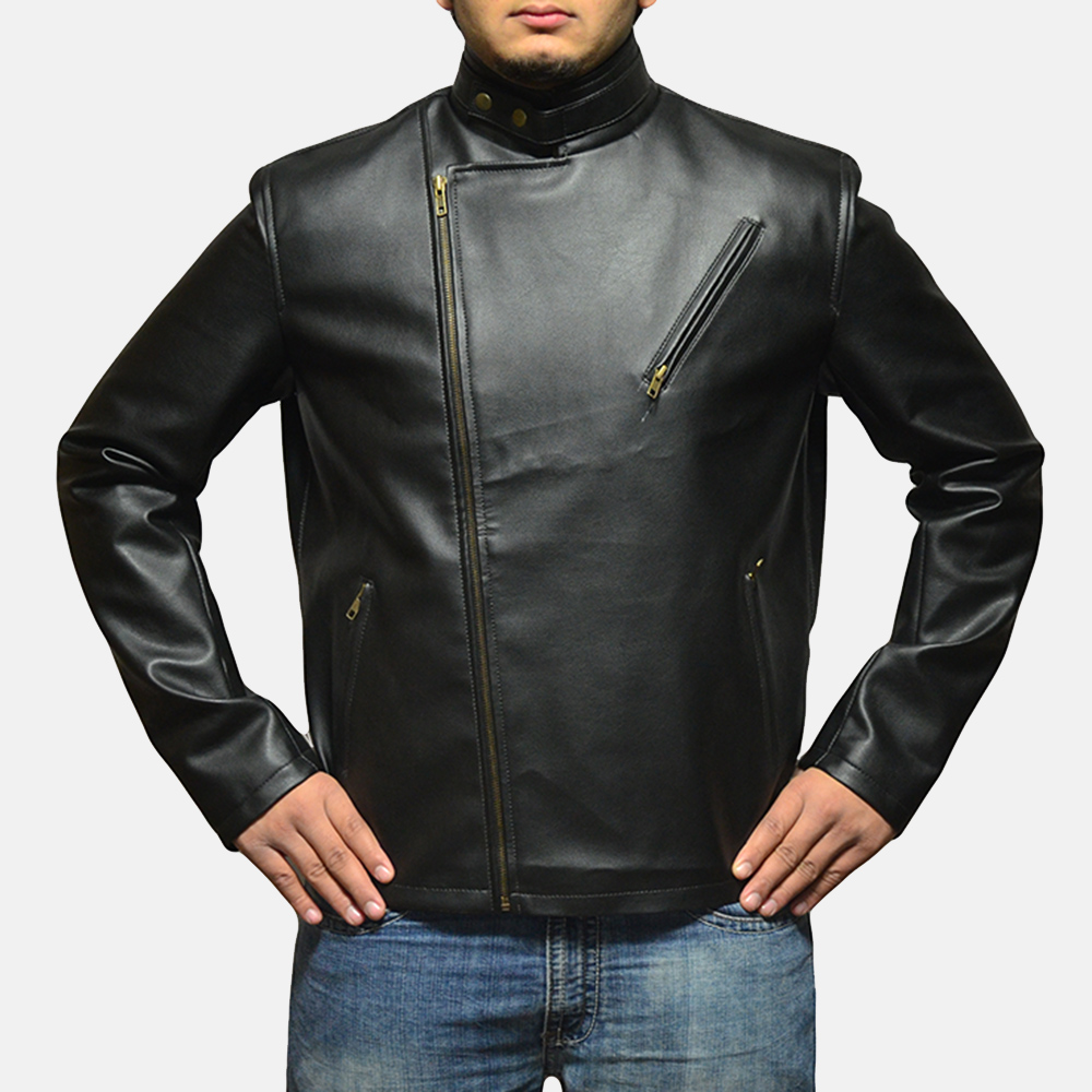 Mens Vivid Black Leather Biker Jacket 4