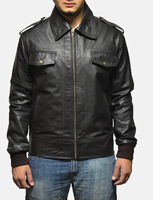 Mens Chocolate Rumble Leather Bomber Jacket