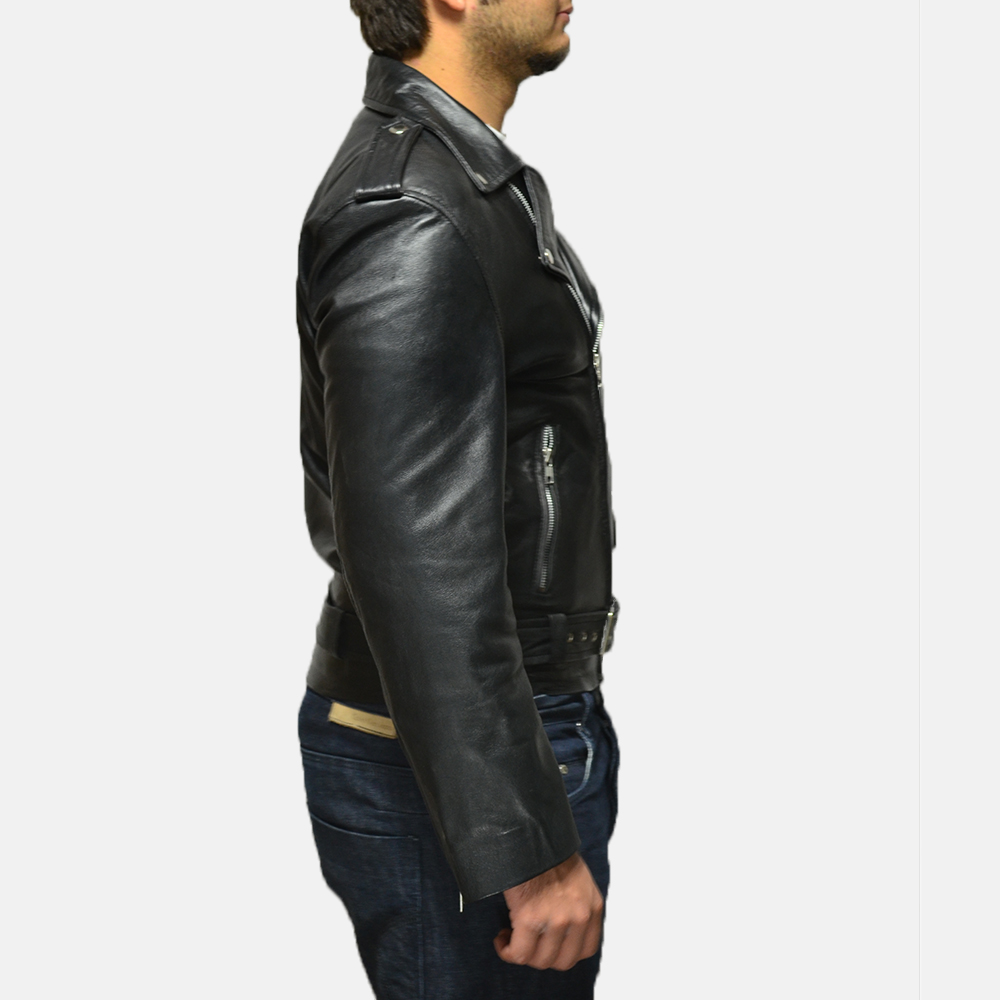 Mens Allaric Alley Black Leather Biker Jacket 3