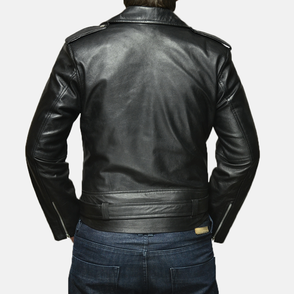 Mens Allaric Alley Black Leather Biker Jacket 4