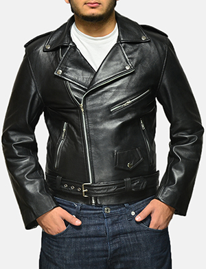 Allaric Alley Black Leather Biker Jacket
