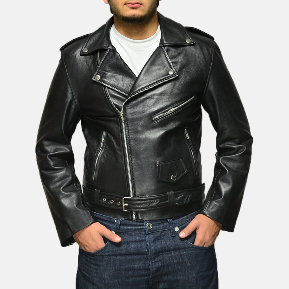 Mens Allaric Alley Black Leather Biker Jacket 1