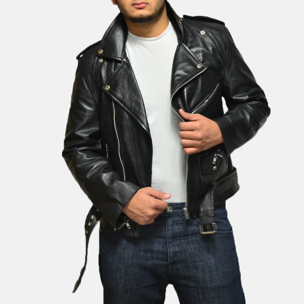 Mens Allaric Alley Black Leather Biker Jacket 2